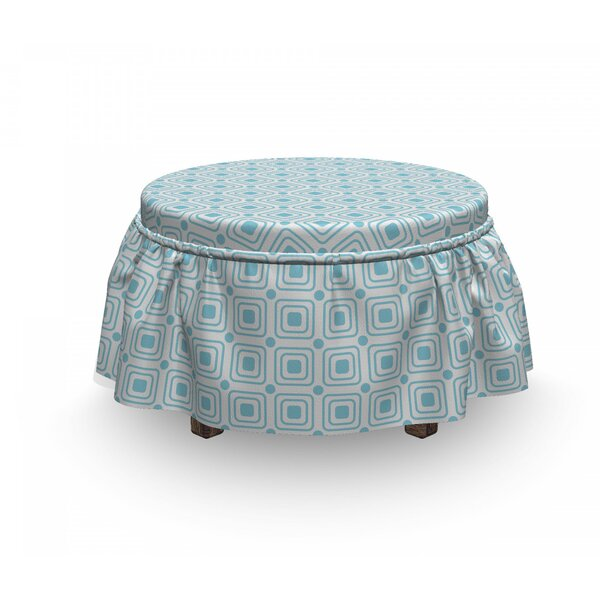 Nested Square Shapes Ottoman Slipcover (Set Of 2) By East Urban Home