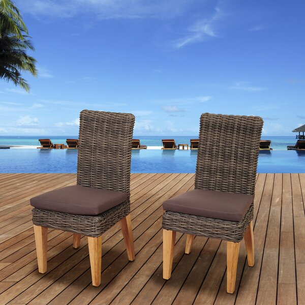 Elsmere Teak Patio Dining Chair with Cushion (Set of 2) by Beachcrest Home Beachcrest Home