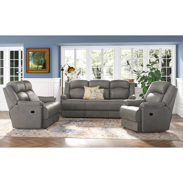 Volkman 3 Piece Leather Reclining Living Room Set by Red Barrel Studio Red Barrel Studio