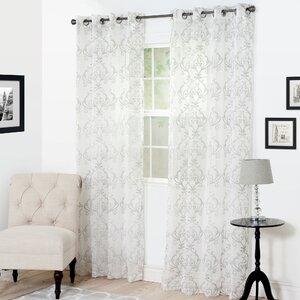 Victorian Vase Embroidered Damask Semi-Sheer Grommet Single Curtain Panel