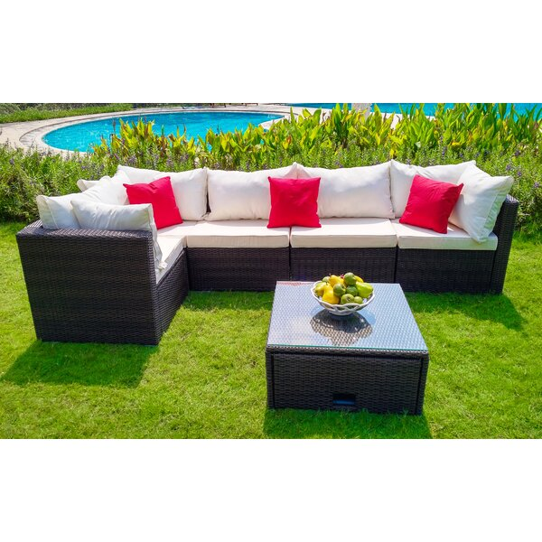Anglo 6 Piece Sectional Seating Group Set with Cushions by Wrought Studio