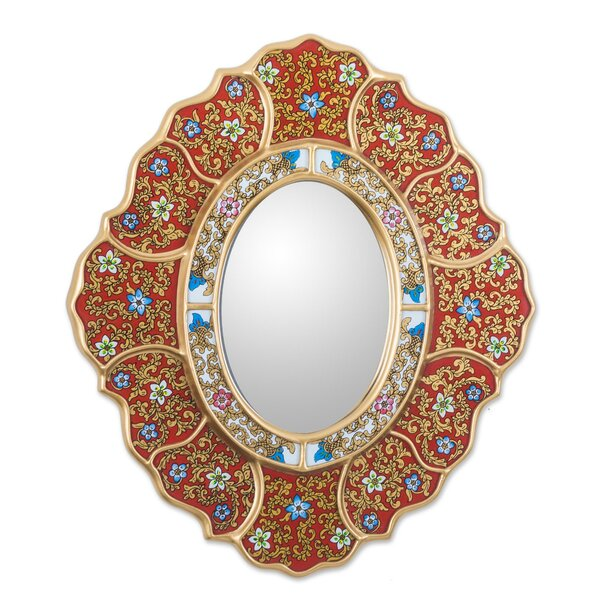 Asunta Pelaez Unique Reverse Painted Accent Mirror by Novica
