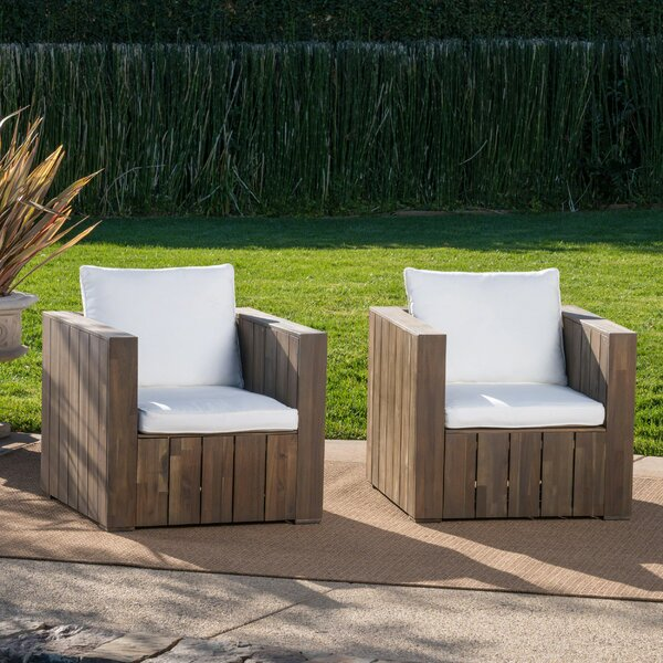 Court Patio Chair with Cushion (Set of 2) by Foundry Select