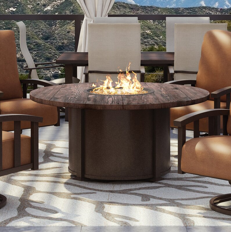 Chat Polyresin Top/Aluminum Base Propane Gas Fire Pit