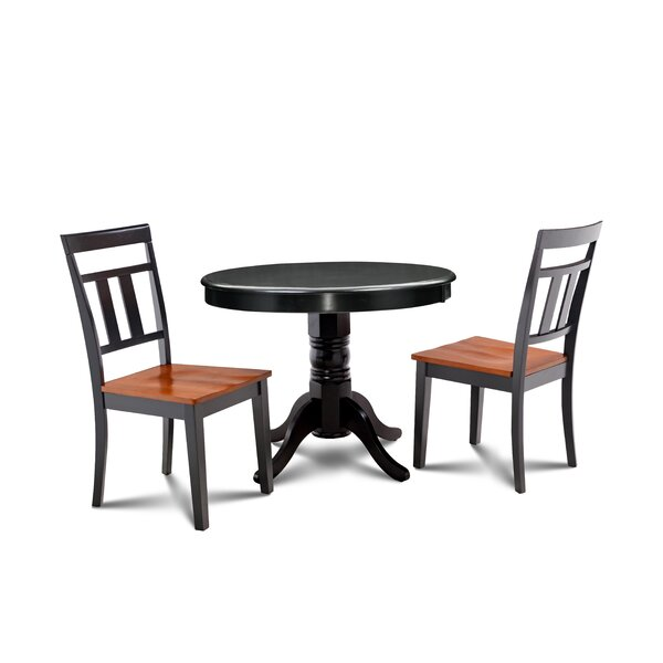 Llewellyn 3 Piece Solid Wood Dining Set by Millwood Pines Millwood Pines