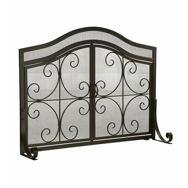 Shoping Large Crest 2 Panel Steel Fireplace Screen