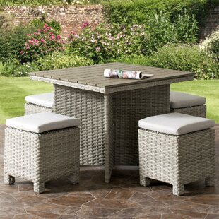 Killingworth Weather Resistant Resin Wicker Patio 5 Piece Dining Set By Rosecliff Heights