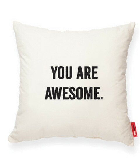 Expressive You Are Awesome Cotton Throw Pillow by Posh365