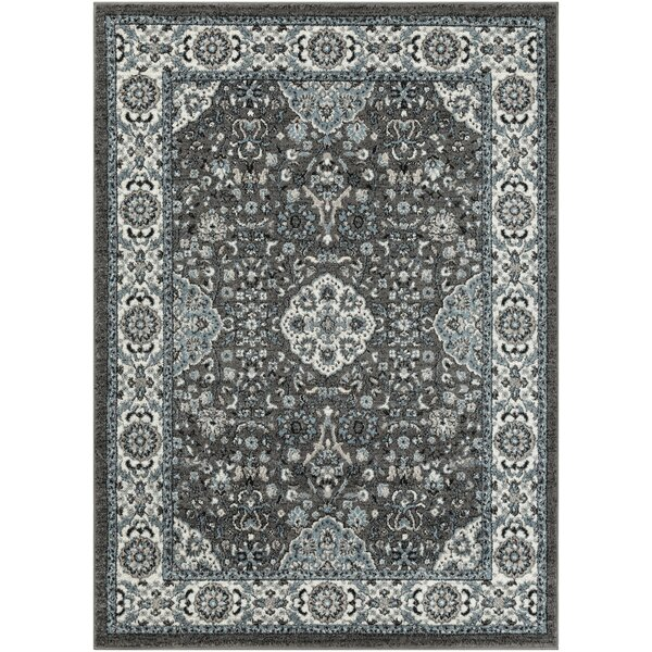 Minni Floral Denim/Charcoal Area Rug by House of Hampton