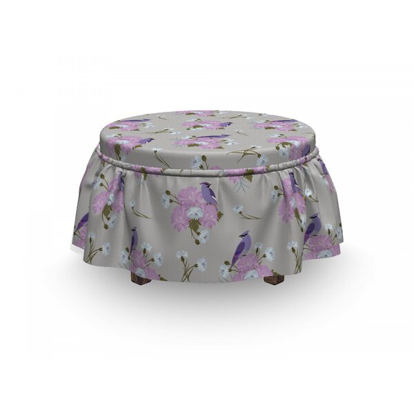 Flowers And Bird Ottoman Slipcover (Set Of 2) By East Urban Home