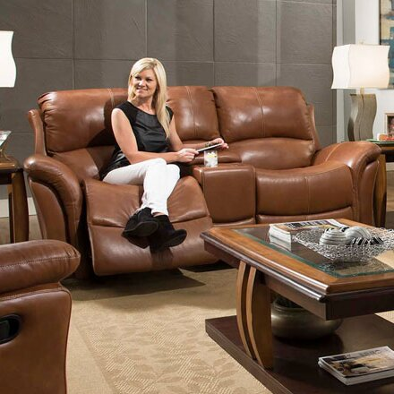 Czapla Leather Reclining Loveseat by Orren Ellis