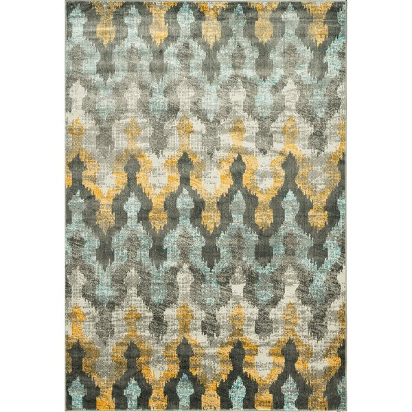 Ramer Trellis Soft Gray/Gold Area Rug by Bungalow Rose