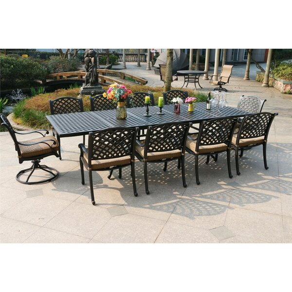 Bales Aluminum 11 Piece Dining Set with Cushions by Canora Grey