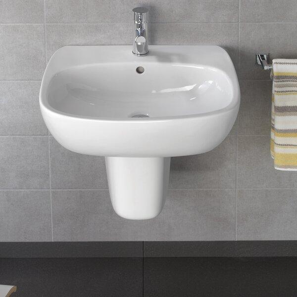Moda Ceramic 24 Wall Mount Bathroom Sink with Overflow