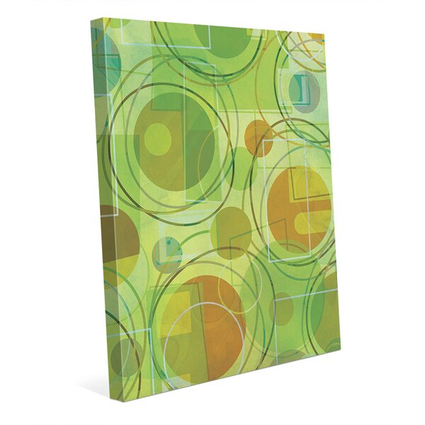 Chartreuse Planetoids Graphic Art on Wrapped Canvas by Click Wall Art