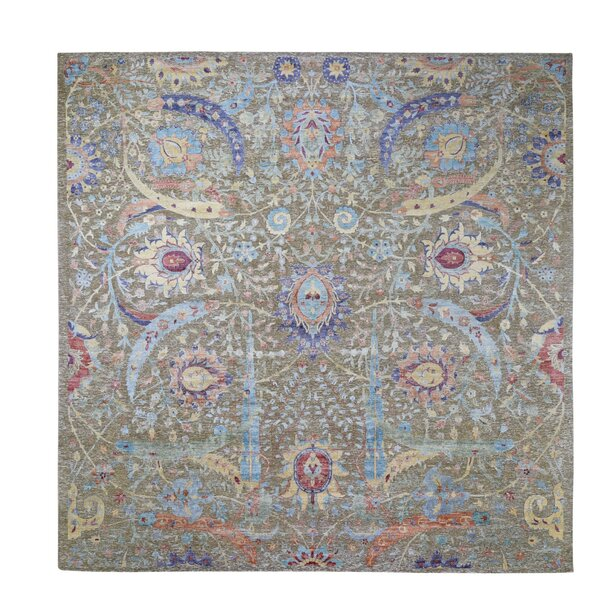 One-of-a-Kind Hand-Knotted Green/Red/Blue 12'4 Square Wool Area Rug