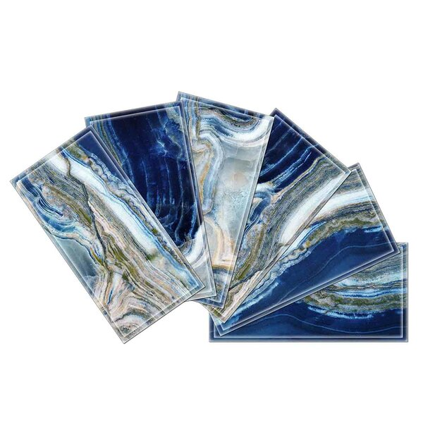 Crystal 3 x 6 Beveled Glass Subway Tile in Blue by Upscale Designs by EMA