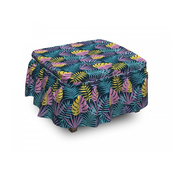 Exotic Leaf Ottoman Slipcover (Set Of 2) By East Urban Home