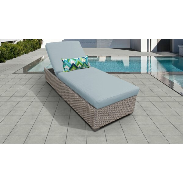Meeks Outdoor Chaise Lounge with Cushion by Rosecliff Heights