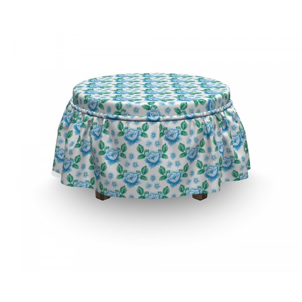 Rose Vintage Blooms Botany 2 Piece Box Cushion Ottoman Slipcover Set By East Urban Home