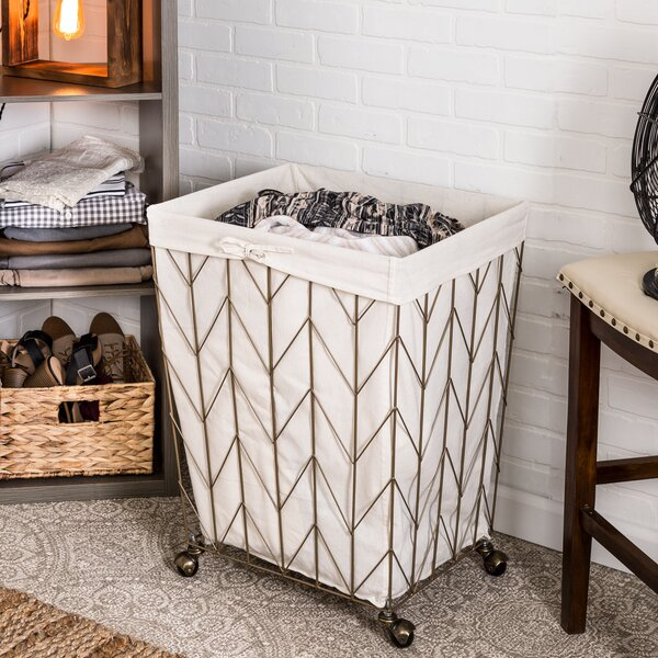 Coastal Decorative Rolling Laundry Hamper by Gracie Oaks