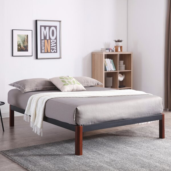 Caoimhe Wood Slat and Metal Platform Bed Frame by Latitude Run