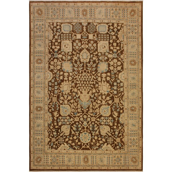 One-of-a-Kind Peshawar Kafkaz Hand-Knotted 8'0 x 9'10 Wool Brown/Ivory Area Rug by Bloomsbury Market