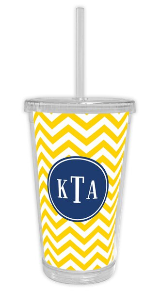 Chevron Classic Monogram Beverage 16 oz. Plastic Travel Tumbler by Boatman Geller