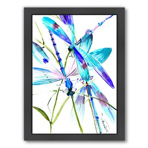 Dragonflies Framed Painting Print by East Urban Home