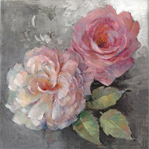 'Roses on Gray I' Painting Print on Wrapped Canvas by Lark Manor