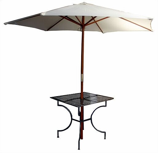 Iron Square Dining Table with 2.75 Umbrella Holder by Pangaea Home and Garden