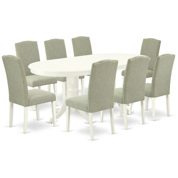 Baigelman 9 Piece Extendable Solid Wood Dining Set by Winston Porter Winston Porter