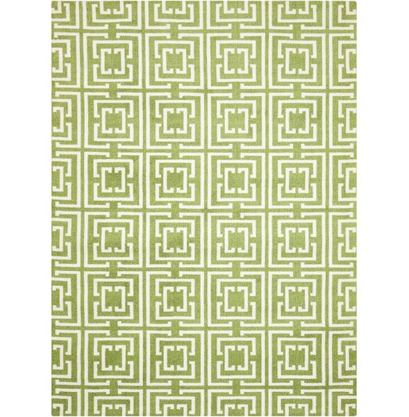 Atropos Green/Ivory Area Rug by Ebern Designs