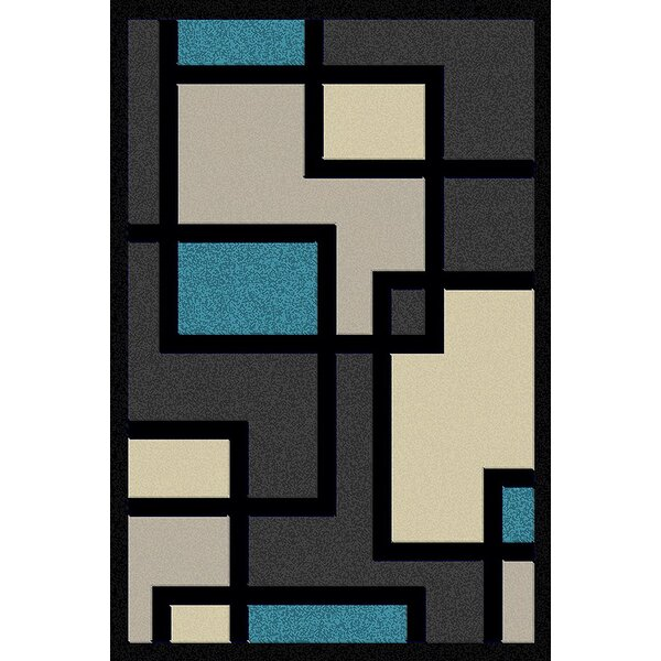 Cosper Turquoise/Gray Area Rug by Ebern Designs