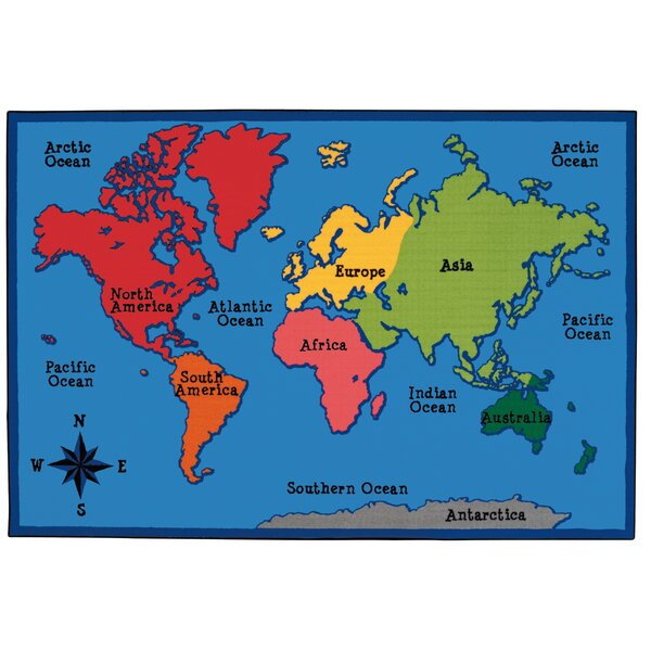 Value Plus World Map Area Rug by Carpets for Kids