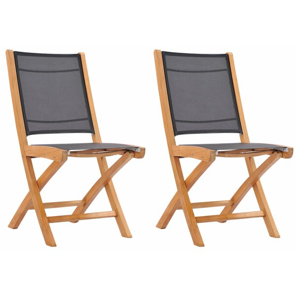 Emmalee Folding Teak Patio Dining Chair (Set of 2) by Longshore Tides