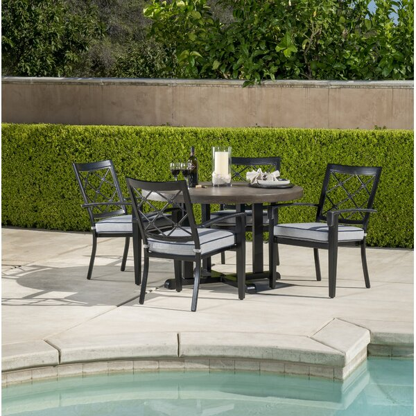 Duncombe 5 Piece Sunbrella Dining Set with Cushions by Darby Home Co