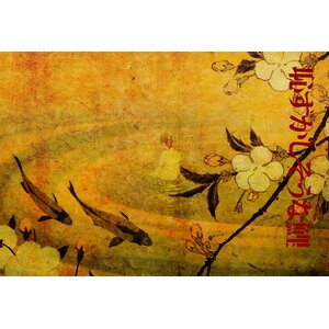 'Japanese Koi' Graphic Art Print on Canvas by World Menagerie