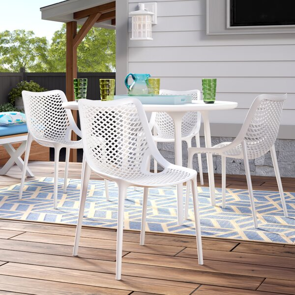 Deines Modern Stacking Patio Dining Chair (Set of 4) by Mercury Row