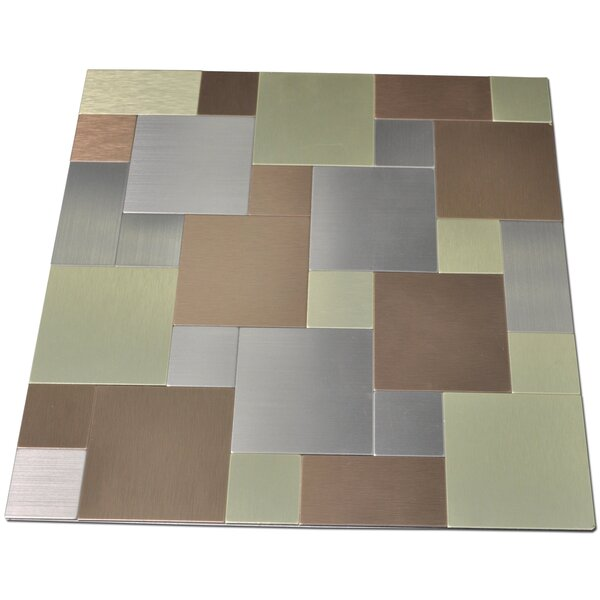 12 x 12 Metal Peel & Stick Mosaic Tile in Gold/Silver by Art3d