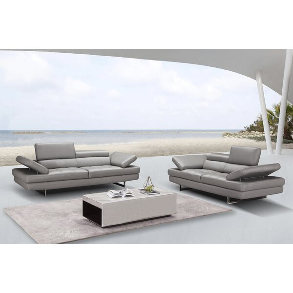Maxwell Leather Configurable Living Room Set by Orren Ellis