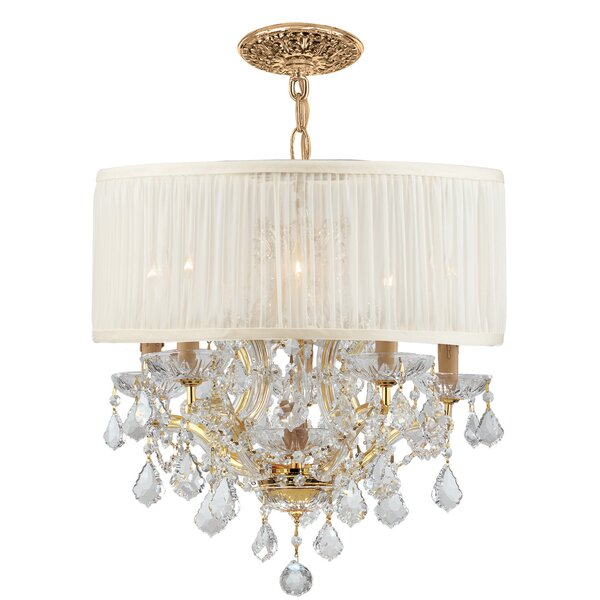 Corrinne 6 - Light Shaded Drum Chandelier With Crystal Accents By Rosdorf Park