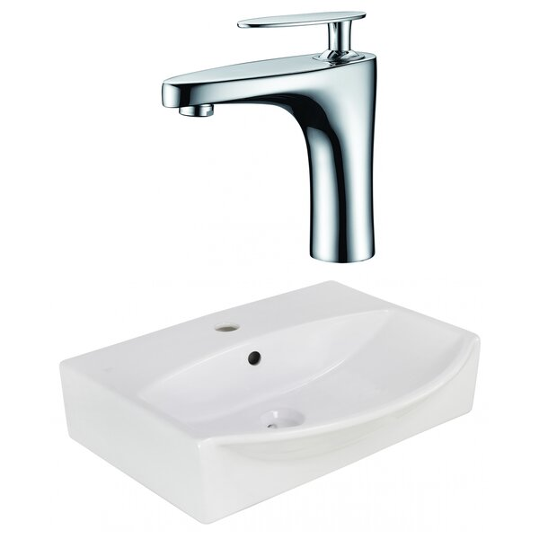 Ceramic U-Shaped Bathroom Sink with Faucet and Overflow
