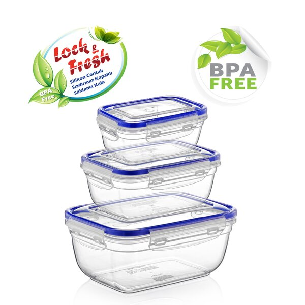 Rectangle Sealed 3 Piece 2.7 Qt Food Storage Container by Rebrilliant