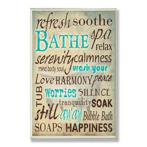 'Bath Wash Your Worries' Textual Art by Wrought Studio