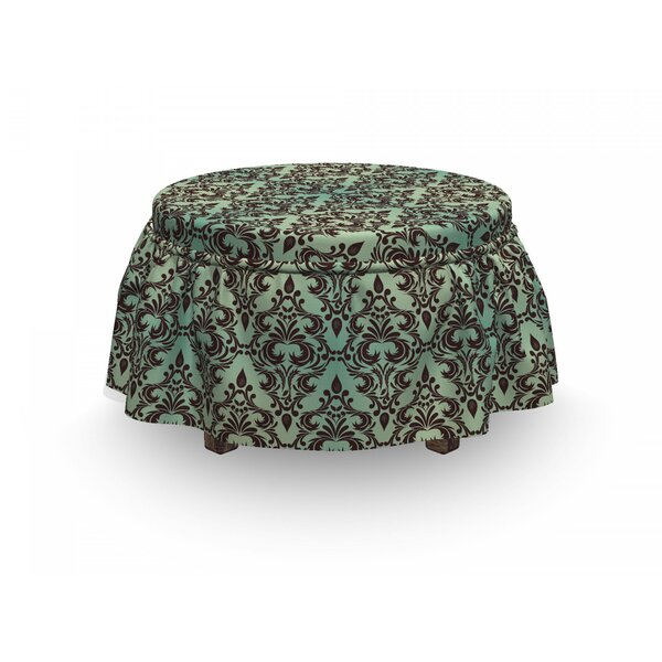 Damask Leaves Buds Ornate 2 Piece Box Cushion Ottoman Slipcover Set By East Urban Home