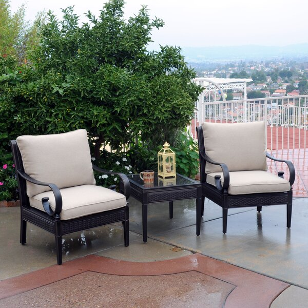 Rouleau 3 Piece Sunbrella Set with Cushions by Darby Home Co