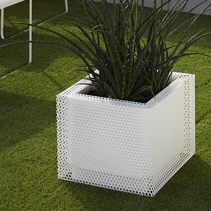 Metal Self-Watering Planter Box Symple Stuff Colour: White,
