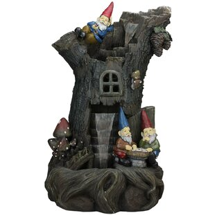 Polystone 3 Tier Gnome Home Tree Stump Outdoor Water Fountain