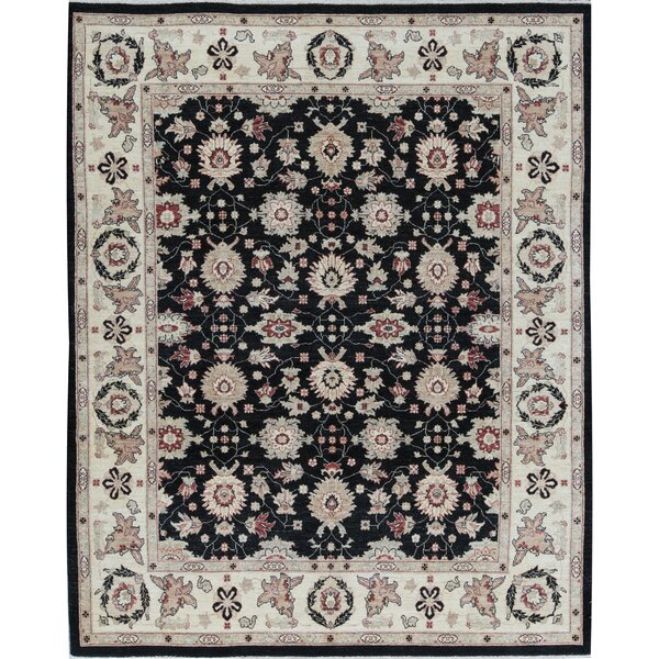 Oriental Hand-Knotted Wool Ivory/Black Area Rug